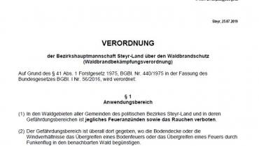 25.07.2019 Waldbrandverordnung
